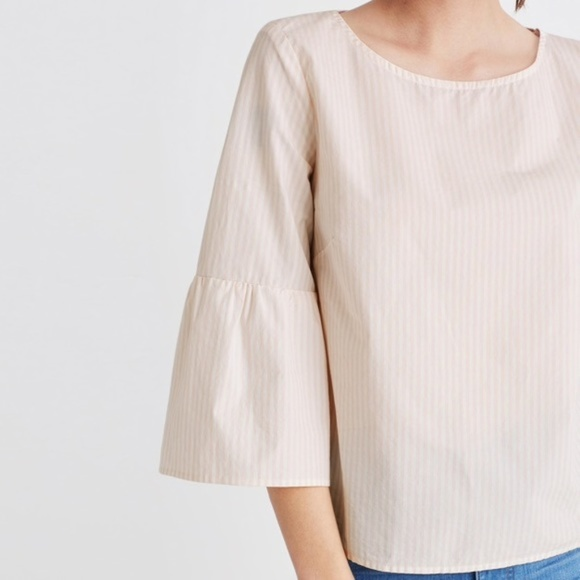 Madewell Tops - Madewell white and light pink striped bell sleeve